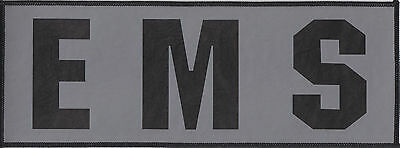 EMS Black on Reflective Grey Background Back Panel patch 4 X 11 silk screened