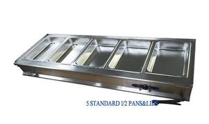 5-Pan Bain-Marie Buffet Food Warmer Steam Table High Quality Stainless Steel 57×18×11inch Item Number: 190919