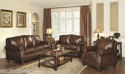 Traditional Leather Sofa Loveseat Chair With Rolled Arms 3Pc Sofa Set Furniture