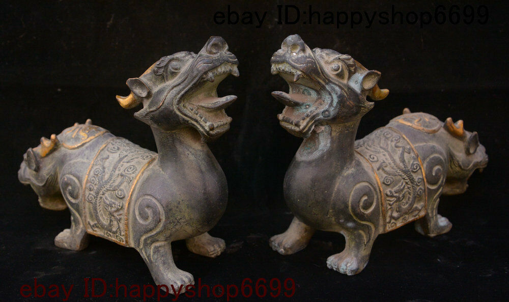 Chinese Bronze Gilt Feng shui Dragon Loong Kylin Chi-lin Qilin Beast Statue Pair