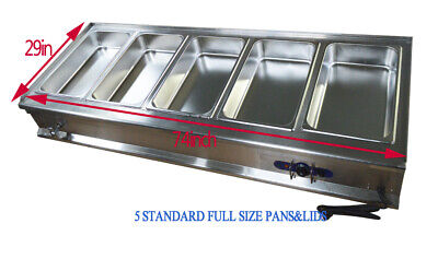 5 Pot Steam Table Stainless Steel Food Warmer Buffet Home Party Full Size Pan