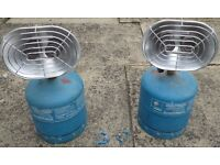 2 Double parabolic camping gaz heaters+ 2 cylinders