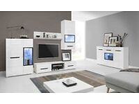 FREE DELIVERY 1-3 DAYS PEDROS Wall Unit SET White High Gloss Led lighting RGB included