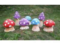 Handcarved Wooden Log Garden Mushroom / Toadstool Ornament