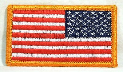 "US American Flag Reverse 3.25""X2"" Gold Border Patch HIGH QUALITY Made in USA NEW"