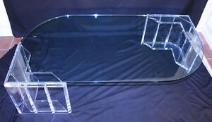 RARE-Vtg-Mid-Century-Modern-Lucite-Glass-Counterbalance-Coffee-Cocktail-Table
