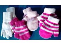 Job Lot of 4 Pairs of Assorted Unisex Boy Girl's Knit Mittens[One Size].