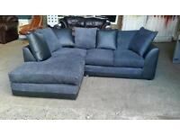 Black Fabric and Faux Leather Corner Sofa