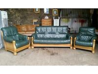 Pending Collection Green Leather Suite