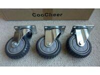 Heavy Duty 100mm Swivel Castor Wheels Trolley Furniture Caster Pack of 3