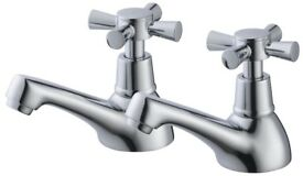 BRAND NEW CRYSTAL CHROME HOT & COLD BASIN PILLAR TAPS, NO OFFERS RRP£50