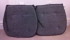 Grey seat pads with ties, soft corded velour x 2