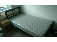 Bedroom Furniture - single bed frame, mattress, bed side table, lamp