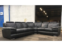 DFS large black leather corner sofa DELIVERY AVAILABLE