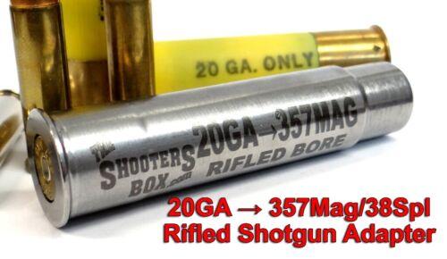 20GA to 357 Magnum & 38 SPL RIFLED Shotgun Adapter - Chamber Reducer - Stainless