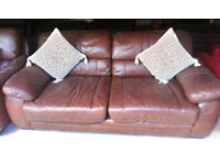 BROWN LARGE 2 SEATER SOFA AND CHAIR AND ALSO ONE FREE CHAIR MATCHING VIEWING WELCOME COW HIDE