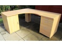 Beech Effect Office/Study Corner Desk inc 2 Cabinets