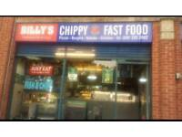 Chip shop hot food takeaway