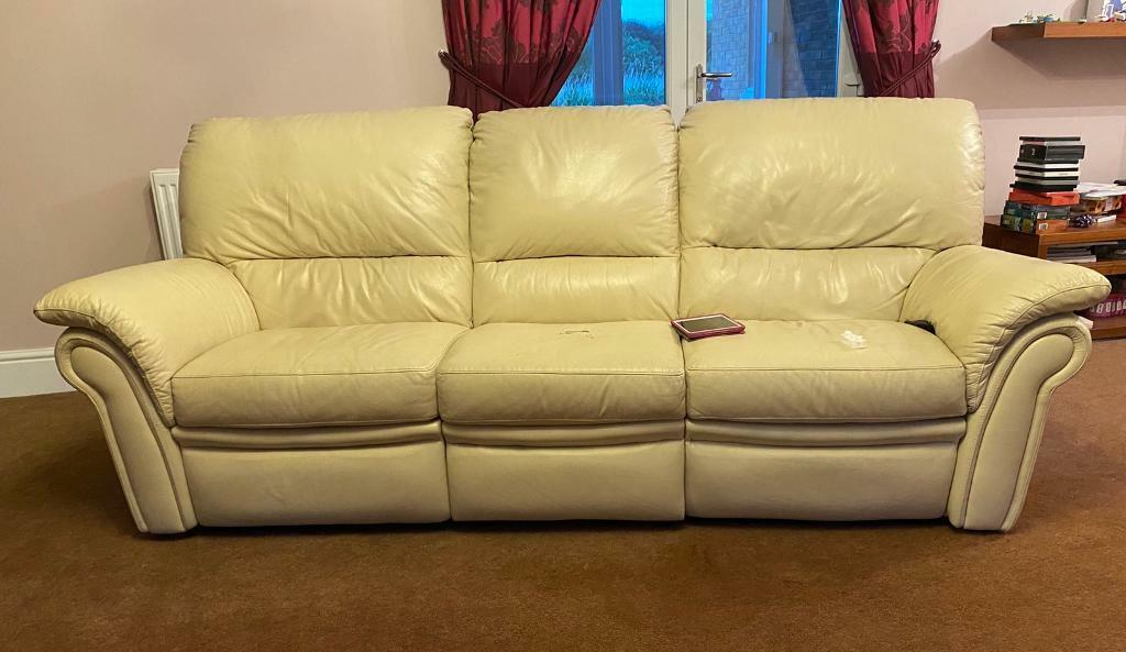 Cream Barker & Stonehouse Leather Sofa | in Newcastle, Tyne and Wear | Gumtree
