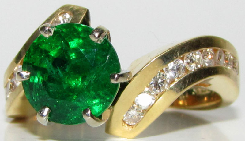 █$9500 4.50CT NATURAL ROUND EMERALD DIAMOND COCKTAIL█A+