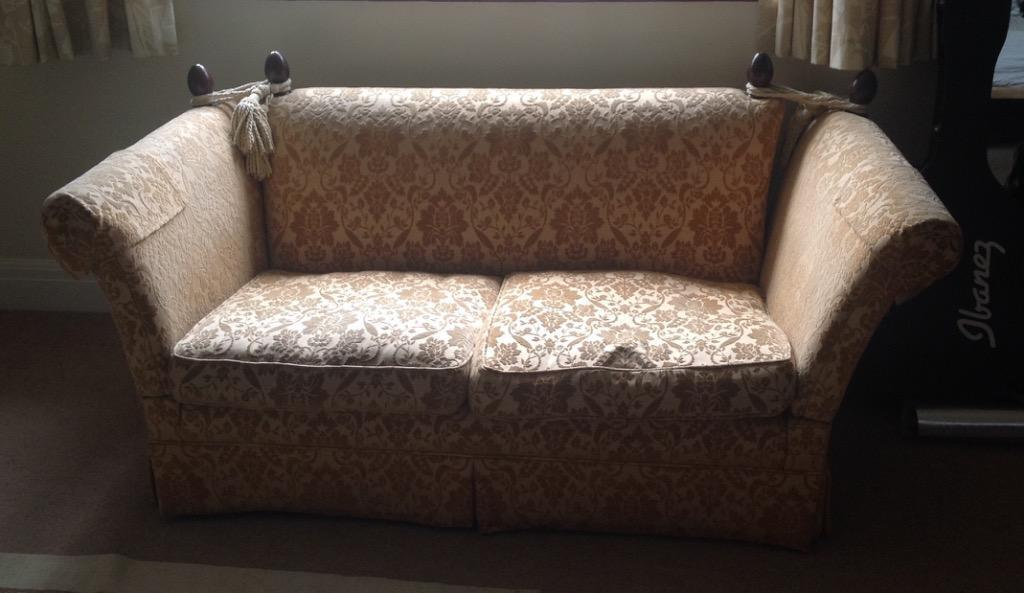 Beautiful Laura Ashley Two Seater Langham Knole Sofa Gold Damask Fabric