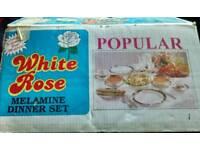 WHITE ROSE BIG MELAMINE DINNER SET NEW