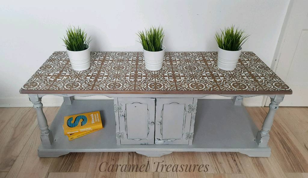 Shabby chic upcycled coffee table,painted in grey tv unit ...