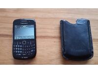 Blackberry mobile phone with leather case