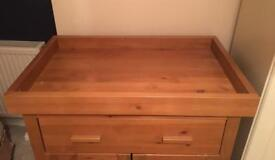 Pine dresser with built in baby change top