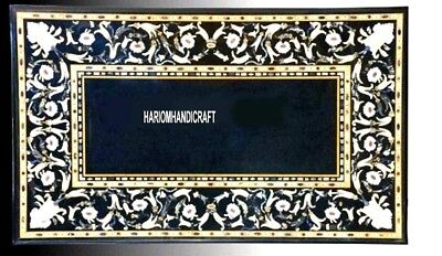 Handicraft Marble Center Table Tops & FREE Elephant Trunk Up Statue Inlaid Decor ()