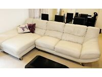 Salvador Cream Leather Corner Chaise Sofa with Swivel Armchair and Footstool (Furniture Village)