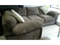 Large grey right hand corner sofa + footstool