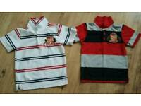 Boys Sunderland AFC polo shirts x 2 age 4-5 years