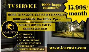 TV SERVICE 15.99$/month GUARANTEED SATISFACTION! 1700 Live TV Channels, Movies&TV Series, Sports, PPV and more! IcarusTV