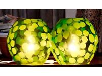 Pair of IKEA Globe Table Lamps in Clear Glass with Green Leaf and Butterfly Pattern