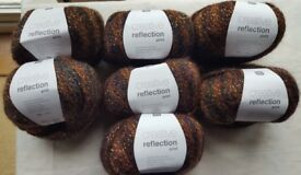RICO REFLECTIONS PRINT YARN WOOL - BROWN COPPER COLOUR - 7 X 50G BALLS - NEW