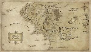 Map of Middle Earth Lord Of The Rings Silk Cloth Poster 24 x 13