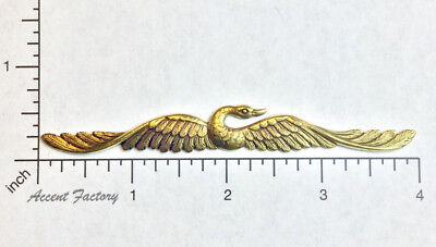 36453 Long Winged Flying Bird Jewelry Finding Stamping Brass Oxidized