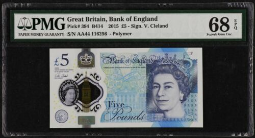 2015 England Great Britain 5 Pounds QE II, P-394, PMG 68 EPQ Superb Gem UNC