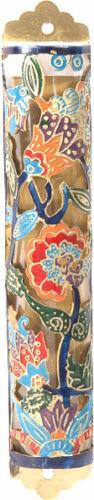 Jewish Brass Mezuzah Case - Hand Painted Judaica Art - FLOWERS - Made in Israel