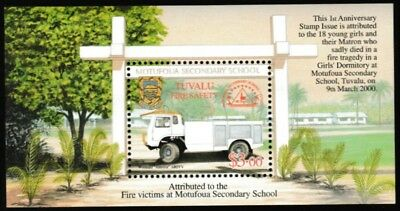Fire Safety mnh souvenir sheet 2001 Tuvalu #854 Motufoua School fire victims