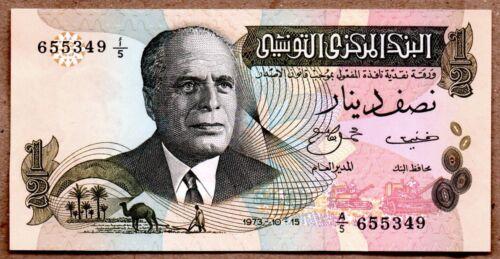 Tunisia UNC Note 1/2 Dinar 1973 P-69