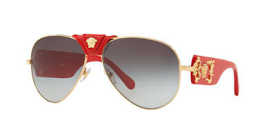 VERSACE Sunglasses VE2150Q 1002/11 Gold-Red-Leather / Grey Gradient (Versace Male Sunglasses)