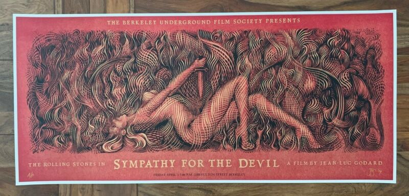 Rolling Stones Sympathy For The Devil Silkscreen Movie Poster by Seabury AP!