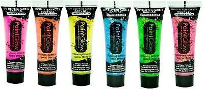 UV Glow in The Dark Face & Body Paint Gel Reactive Glitter  6 Colors 13 ml each