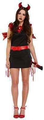 Damen Sexy Black Devil + Wings Hörner Schwanz Halloween Kostüm Kleid (Black Devil Halloween Kostüm)