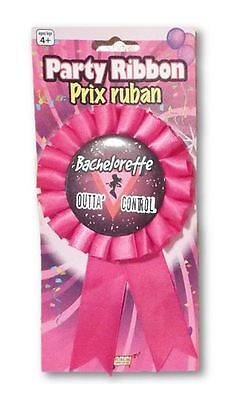 Bachelorette Outta Control Party Pin On Ribbon Pink - Bachelorette Pins
