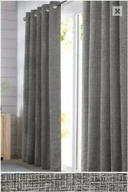 Textured Chenille Eyelet Curtains in Silver by Next Home 135cm x 229