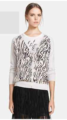 Haute Hippie 100% Merino Pink Silk Cardigan Zebra Jacket Sweater Top $345 M Pink Zebra Haut