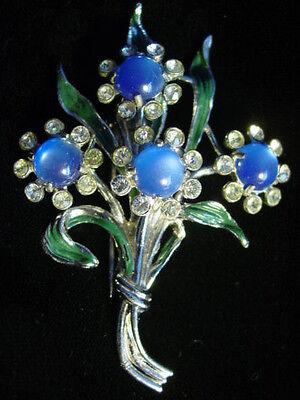 Vintage Art Deco BLUE MOONGLOW Lucite FLOWER Bouquet FUR CLIP~Unsigned CORO,fjt